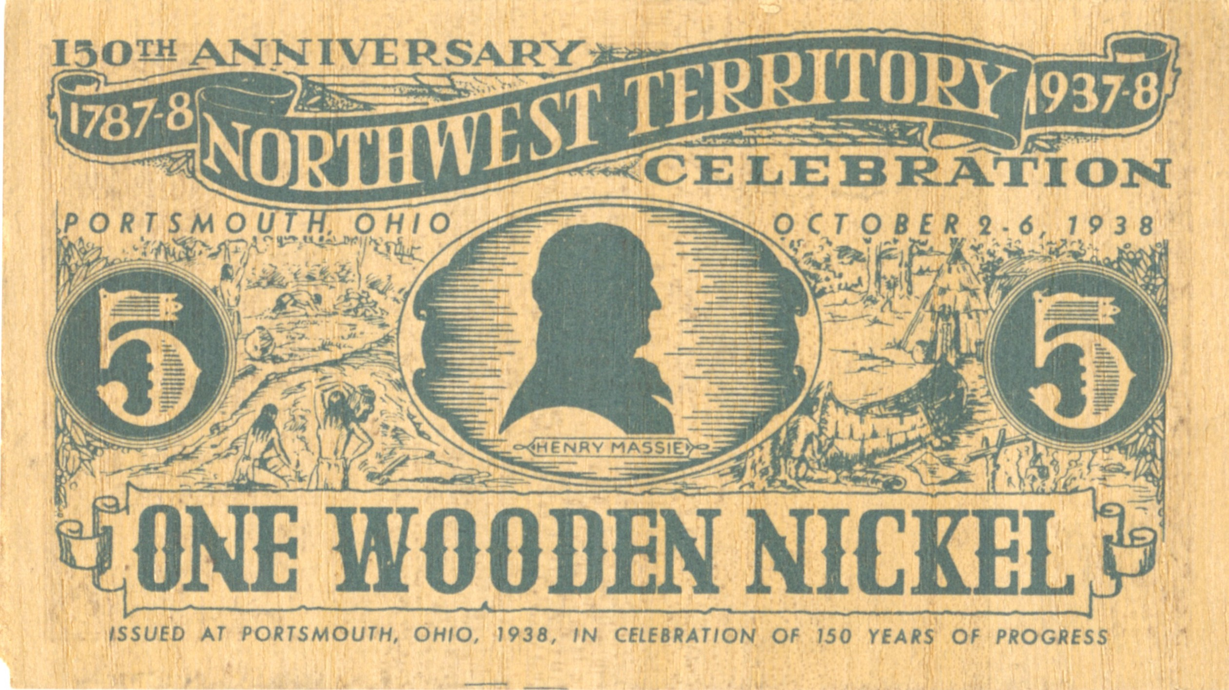 Northwest Territory Celebration Wooden Nickel 1937 38 Local