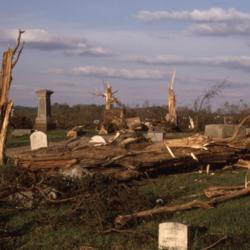 Old Wheelersburg Cemetery tornado aftermath