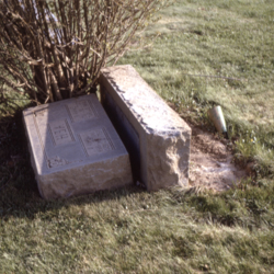 """""""Hea"""" Gravestone upended due to tornado at the old Wheelersburg Cemetery"""