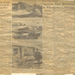 Newspaper articles and photos about the tornado