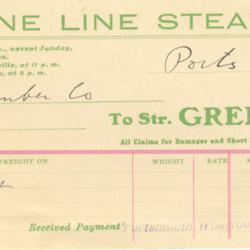 Greene Line Steamers Freight Invoice
