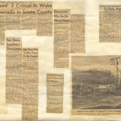 Newspaper articles and photos of the tornado aftermath
