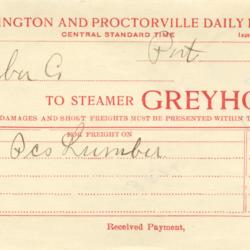 Portsmouth, Huntington and Proctorville Daily Passenger Packet Freight Invoice