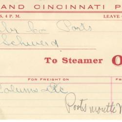 Pittsburgh and Cincinnati Packet Ohio Freight Invoice