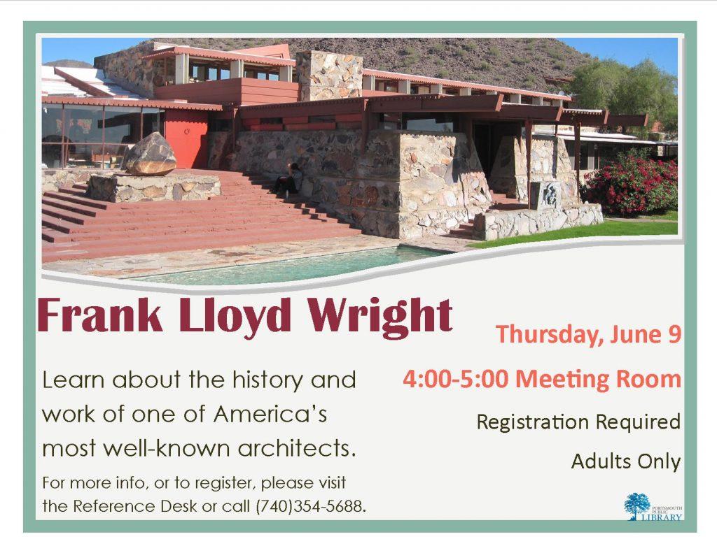 Alex Frank Lloyd Wright Flyer June2016