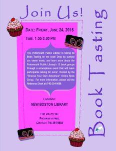 Mini Book Tasting Flyer New Boston Branch 24June2016