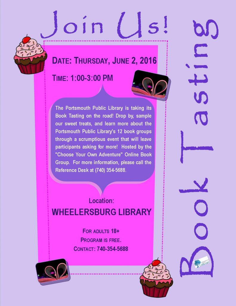 Mini Book Tasting Flyer Wheelersburg Branch 2June2016