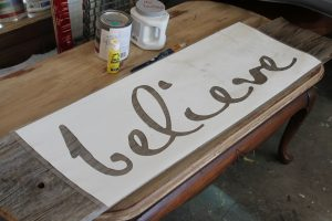 Painting-Stencil-Letters-On-Wood