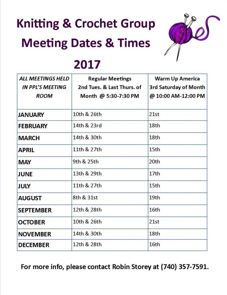 Knitting Crochet Meeting Schedule 2017