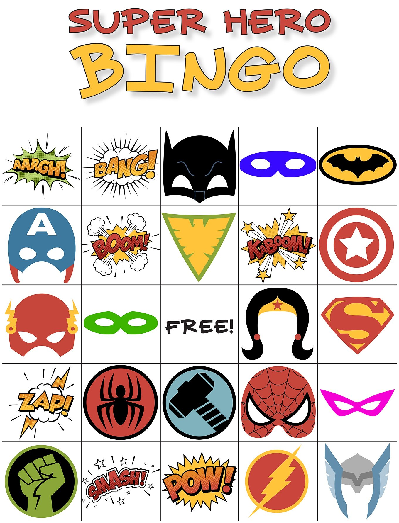 Superhero Bingo Portsmouth Public Library