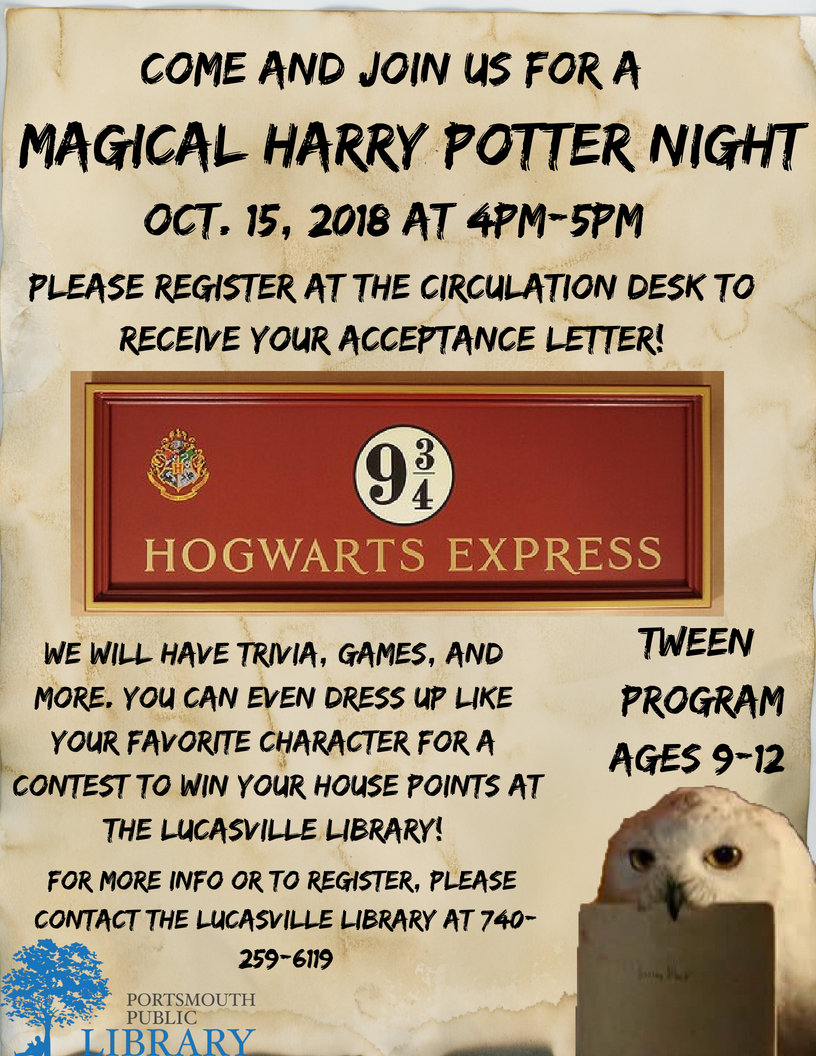 Harry Potter Night – Portsmouth Public Library